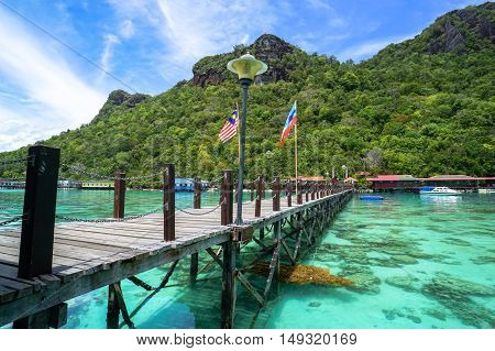 View of Blue ocean,tropical island at Bohey Dulang tropical island,Semporna,Sabah.Bohey Dulang Island is one of the most popular islands in Tun Sakaran Marine Park.
