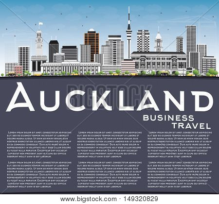 Auckland Skyline with Gray Buildings, Blue Sky and Copy Space. Vector Illustration. Business Travel and Tourism Concept with Modern Architecture. Image for Presentation Banner Placard and Web Site.