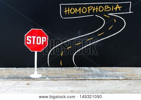 Mini Stop Sign On The Road To Homophobia