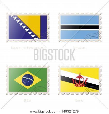 Postage Stamp With The Image Of Bosnia And Herzegovina, Botswana, Brazil, Brunei Flag.