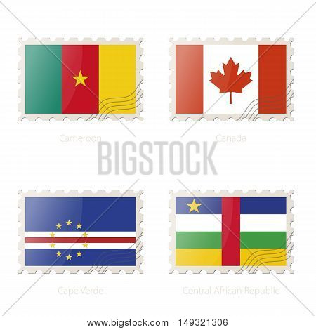 Postage Stamp With The Image Of Cameroon, Canada, Cape Verde, Central African Republic Flag.