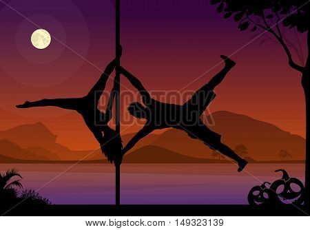 Halloween Style Silhouette of Pole Dancers. Black vector silhouette of male and female pole dancer performing duo tricks in front of river and full moon at night.
