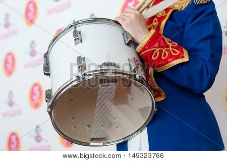 girl, drummer in the form of a hussar