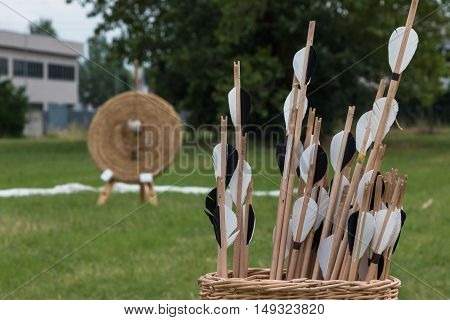 Group of Arrows inside Wicker Basket and Straw Archery Target in background on Meadow