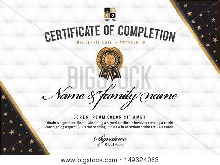 Certificate vector luxury template Certificate premium of gold detailed. Diploma template.