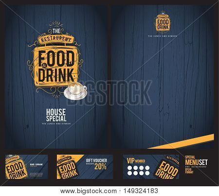 Creative menu design. Menu template and layout menu.Background wood.