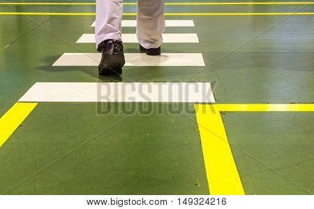 The walkway Zebra pedestrian crossing in factory