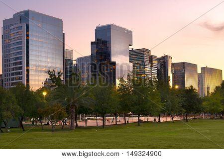 Buildings at Nueva Las Condes a new financial and business center in Las Condes district next to Araucano Park Santiago de Chile