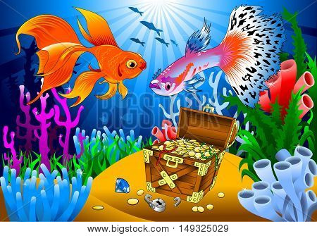 goldfish and guppies find pirate treasure on the sea bed