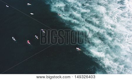 Top view aerial photo from drone of a group of professional surfers having training with instructors in sea with amazingly beautiful swell waves with copy space for your adverting text message