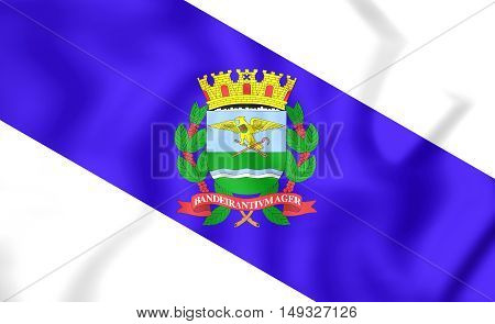 3D Flag Of Ribeirao Preto City (sao Paulo State), Brazil. 3D Illustration.