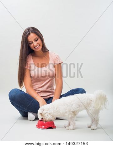 Happy woman enjoys feeding her pet maltese.