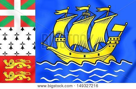 Flag Of Saint Pierre And Miquelon, France. 3D Illustration.