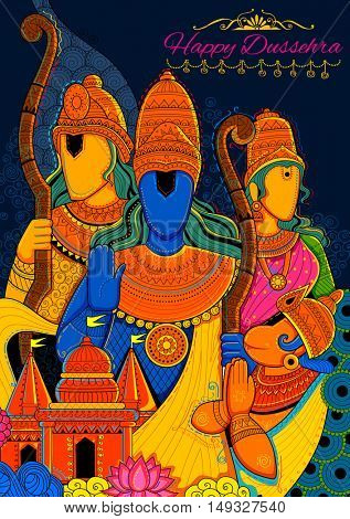 illustration of Lord Ram, Sita, Laxmana, Hanuman and Ravana in Dussehra Navratri festival of India poster