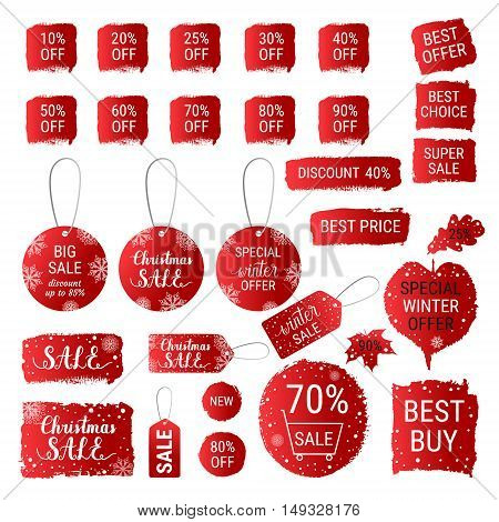 Big winter sale Christmas sale special winter offer best price red gradient banners labels tags shapes with hand lettering. Vector collection of paint brush strokes. Hand drawn design set.
