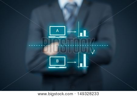 A/B split testing concept. Marketing or SEO specialist supervise A/B split testing.
