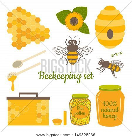 Honey vector set with bee honeycomb hive honey bee pollenbeeswax candles and sunflower. Beekeeping products.