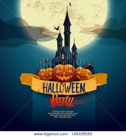 Halloween poster with a castle and moon
