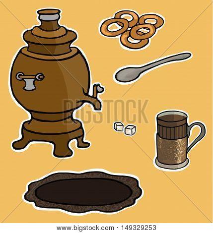 Russian tea ceremony vector illustration set taste