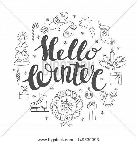 Hello winter handlettering with christmas elements. Winter season card, greetings for social media, typography, t-shirt print.
