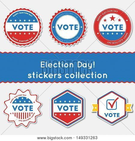 Election Day!. Stickers Collection. Buttons Set For Usa Presidential Elections 2016. Collection Of B