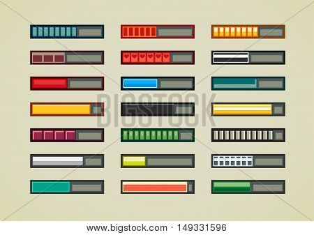 Set of retro bars for creating video game