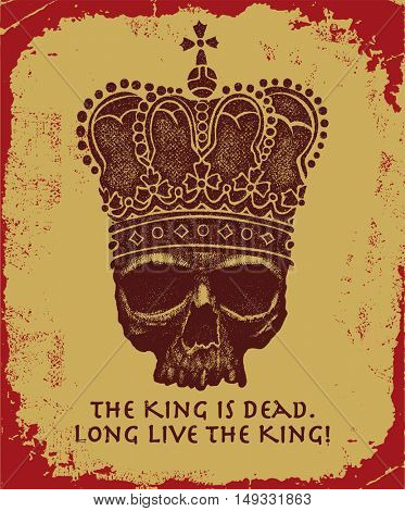 Hand drawn king skull wearing crown. Vector illustration