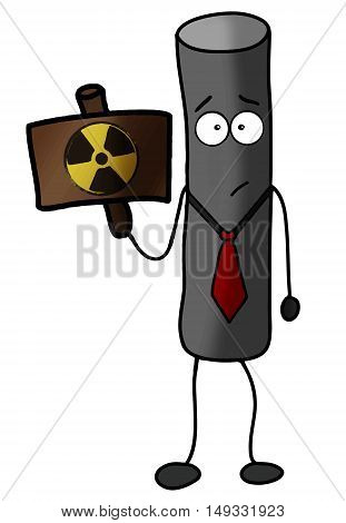 Radioactive particle warning vector illustration power protection