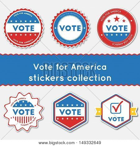 Vote For America Stickers Collection. Buttons Set For Usa Presidential Elections 2016. Collection Of