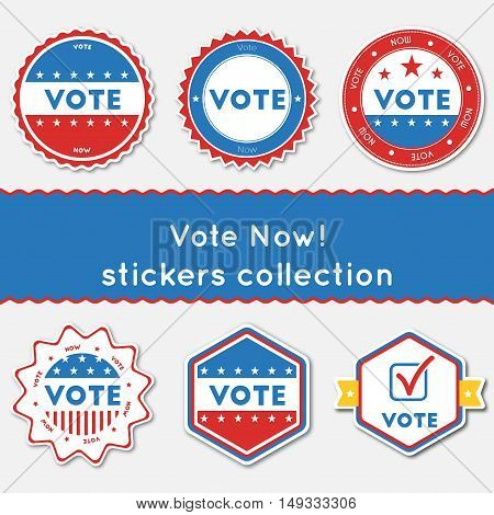 Vote Now!. Stickers Collection. Buttons Set For Usa Presidential Elections 2016. Collection Of Blue