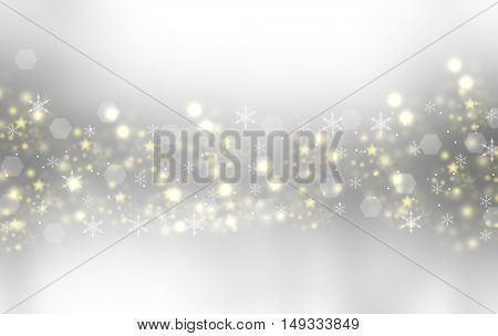 Beautiful winter blurred background. Snowflakes flying in the air. Snowflakes, winter, New Year, Christmas theme. Snow, christmas, snowflake background, snowflake winter. Silver, gold snowflake.