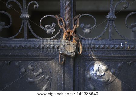 Old lock on the door. lock on the door of an old Castle . close-up