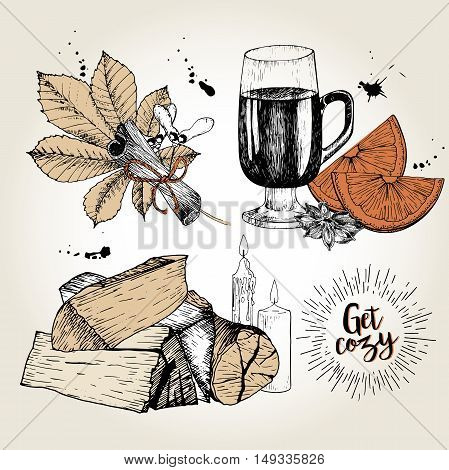 Vector set of cozy home essentials. Mulled wine anise orange cinnamon chestnut leaf firewoods candles. Hand drawn vintage style. Use for holiday domestic sale.