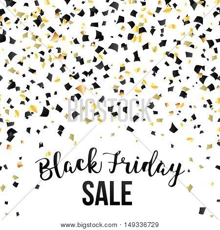 Black Friday sale inscription design template.Black and gold konfetti Black Friday banner. Vector illustration