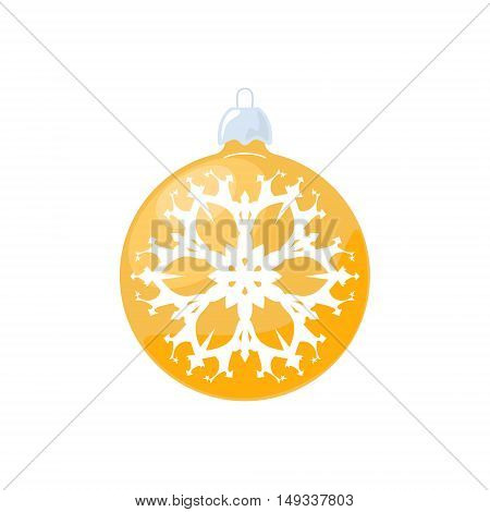 Christmas Yellow Ball, Ball with Snowflake Isolated on White Background,