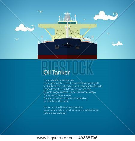 Front View of the Oil Tanker and Text, International Freight Transportation, Vessel for the Transportation of Goods ,Poster Brochure Flyer Design, Vector Illustration