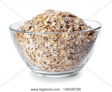 Glass bowl with oatmeal isolated on white background. Glass bowl full of oat flakes. Rolled oats in a glass bowl. Oats in transparent bowl isolated on white with clipping path