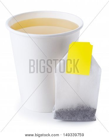 green or herbal tea in takeaway cup with tea bag isolated on white background. Opened take-out paper cup of tea isolated on white. Green or herbal tea
