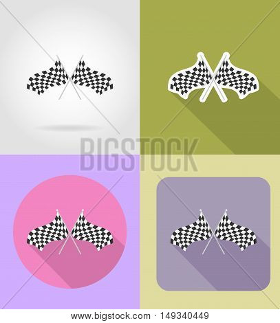 checkered flags for car racing flat icons vector illustration isolated on background