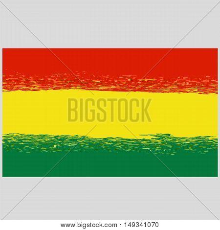National Grunge Flag of Bolivia Isolated. Symbol of Bolivian Independence