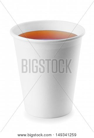 black tea in take away cup isolated on white background with clipping path. Opened take-out paper cup of tea isolated on white. Black tea