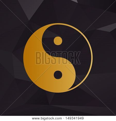 Ying Yang Symbol Of Harmony And Balance. Golden Style On Background With Polygons.