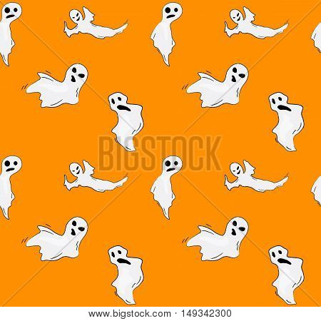 Halloween ghosts vector seamless pattern, background with funny ghosts