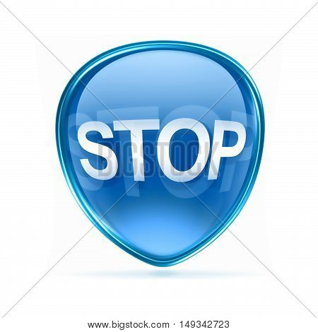 Stop Icon Blue, Isolated On White Background