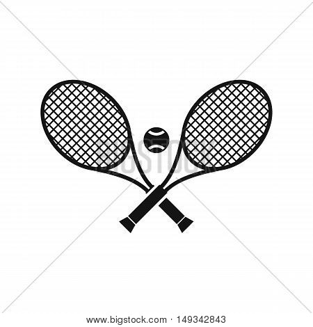 Crossed tennis rackets and ball icon in simple style on a white background vector illustration