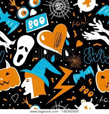Pop art halloween seamless pattern. Vector holliday texture, witch, spider, ghost, blood, lettering, eyeballs on black background. Pin halloween objects for wallpaper, textiles fabric