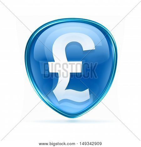 Pound Icon Blue, Isolated On White Background