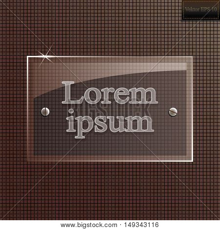 Vector glass banner on a brown background. stock vector