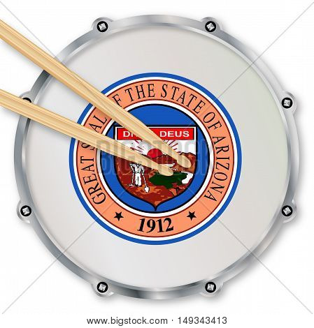 Arizona state seal snare drum batter head with tuning screws and with drumsticks over a white background