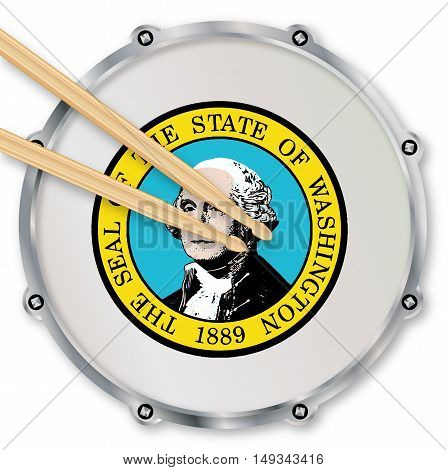 Washington state seal snare drum batter head with tuning screws and with drumsticks over a white background